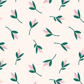 Birds of paradise flowers tropical bikini beach and summer design soft beige pink green