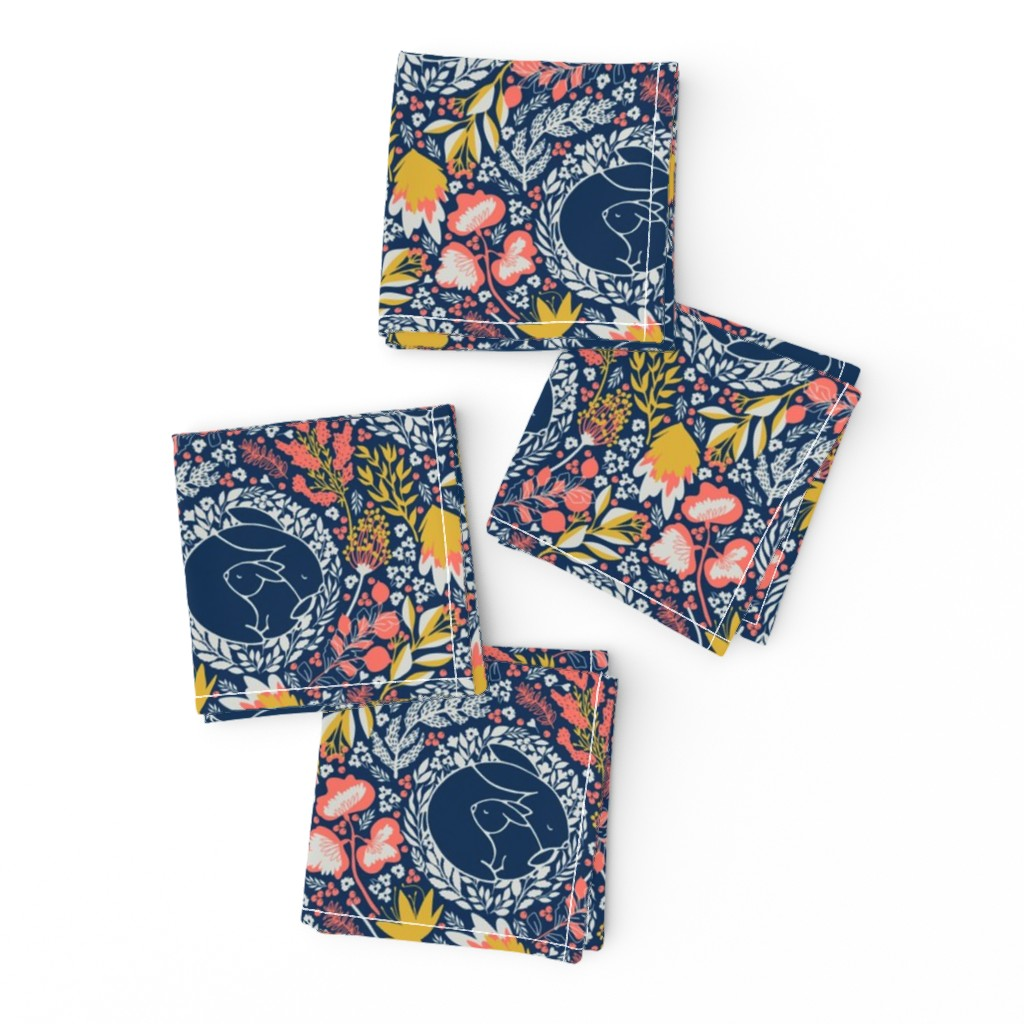 Frizzle Cocktail Napkins featuring Meadow Bunnies/ blue by iryna_ruggeri