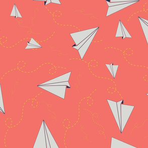 Paper Airplanes in Flight_coral
