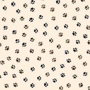 Cat Paw Prints Random on Beige