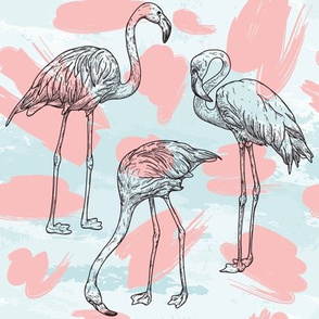 Beachy Miami Style Flamingo Pattern