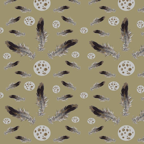 Small Bird Feathers and Eggs - on Taupe