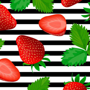 strawberry pattern black lines