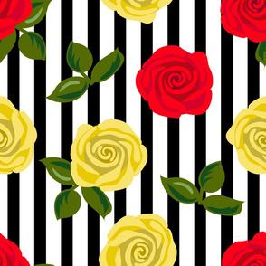 roses pattern on black stripes