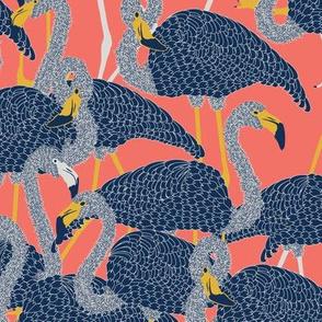 Island Flamingos on Coral - Large
