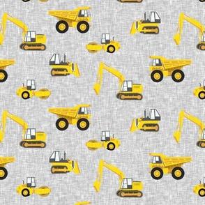 "(1"" scale) construction trucks - yellow on grey linen C19BS"