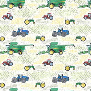 Medium Scale Watercolor Tractors on White
