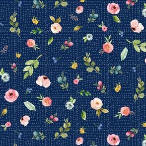 Woodland Flowers on Dark Blue - Pink Peach Blush Blue Floral