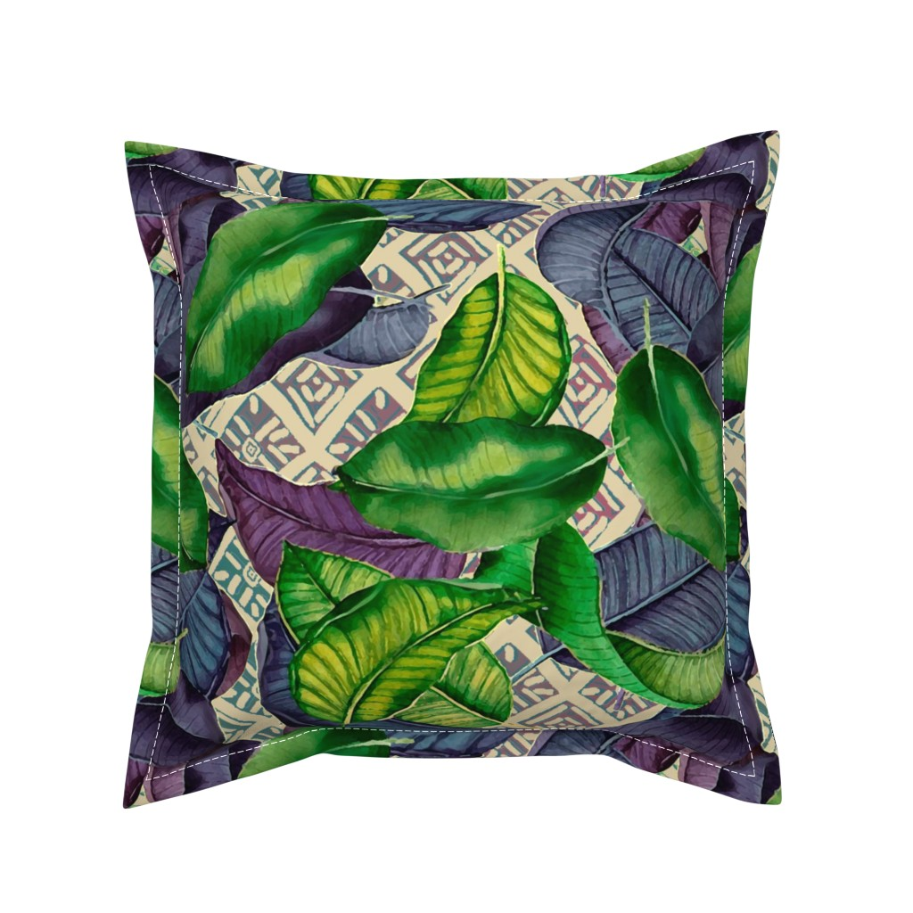Serama Throw Pillow featuring Banana Leave with Mudcloth by lorloves_design