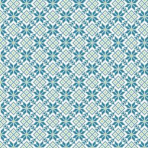 blue and green fair isle snowflakes