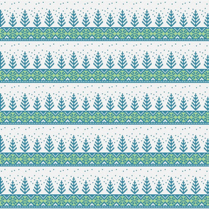 blue fair isle trees on light grey