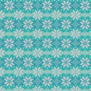 grey on blue and green fair isle snowflakes