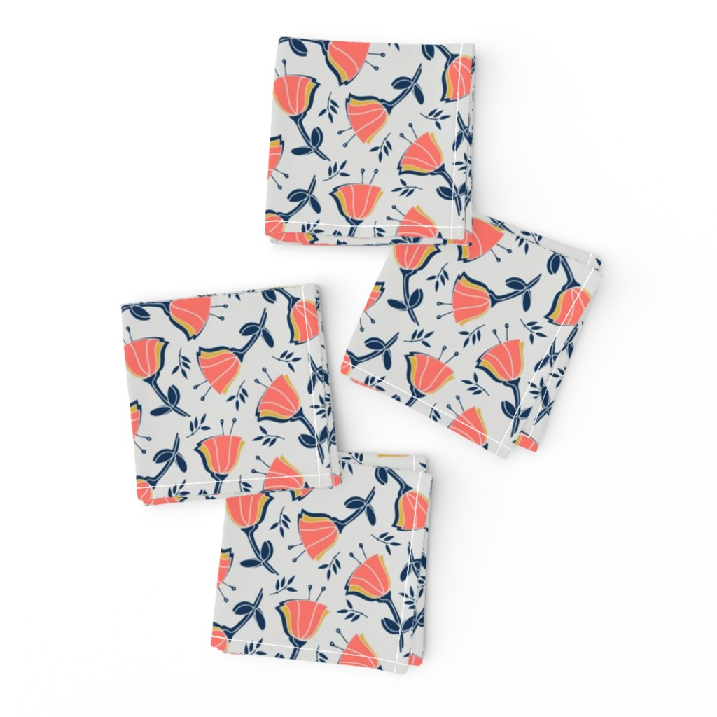 Frizzle Cocktail Napkins featuring coral tulips with mustard, navy and gray by twix