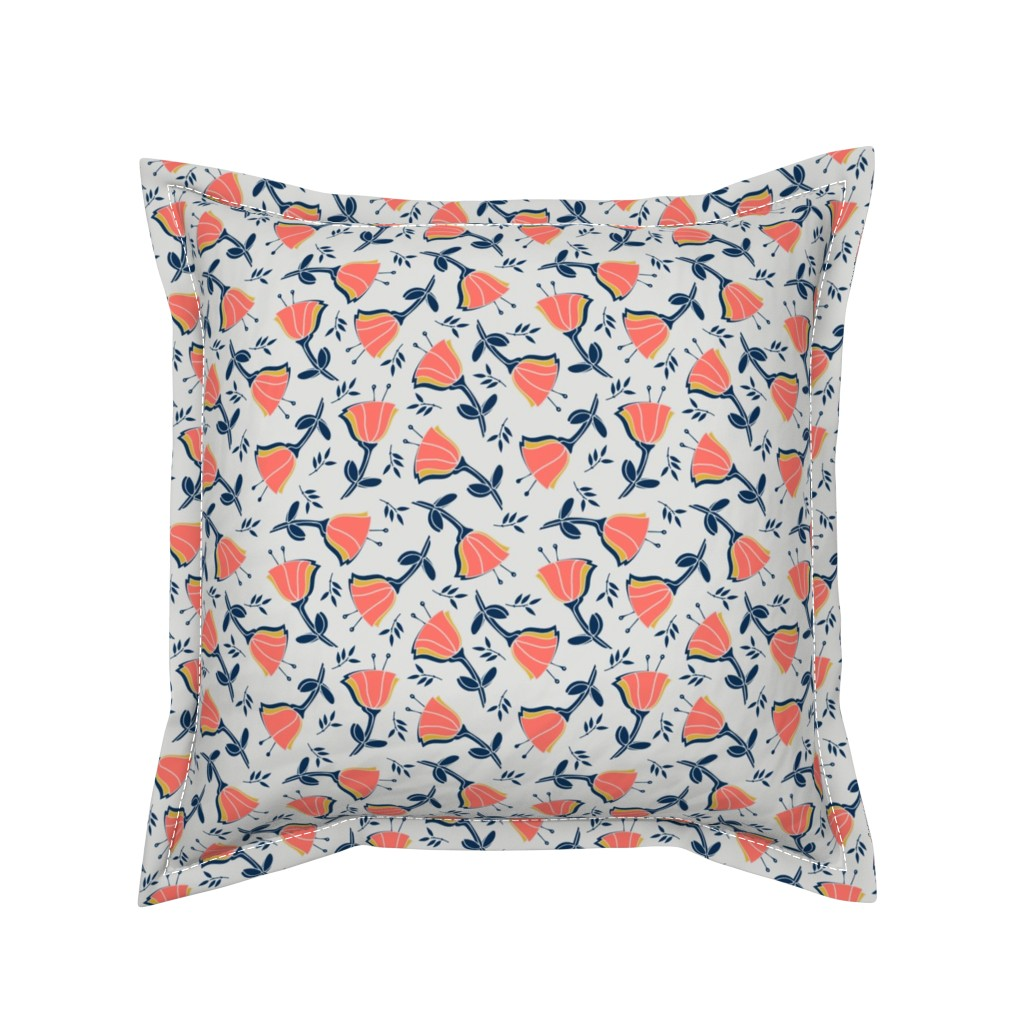 Serama Throw Pillow featuring coral tulips with mustard, navy and gray by twix