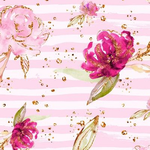 Pink Peony Rose Floral stripe Gold accents