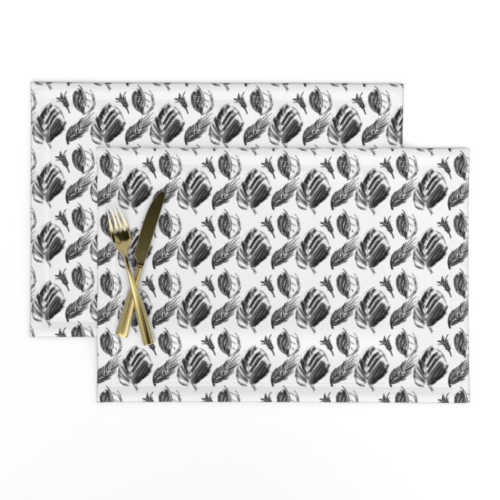 Lamona Cloth Placemats featuring Black and white dry ink - leaves and feathers by by_mountain_by_sea