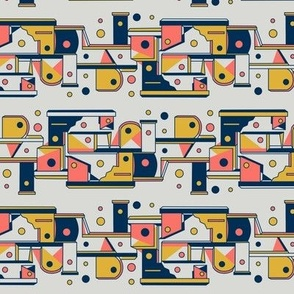 Mid century geometric birdhouses  - coral, navy, yellow