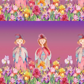 SMALL STRIPES WOODLAND FAIRY ELVES IRISES FLOWERS PINK CORAL VIOLET FLWRHT