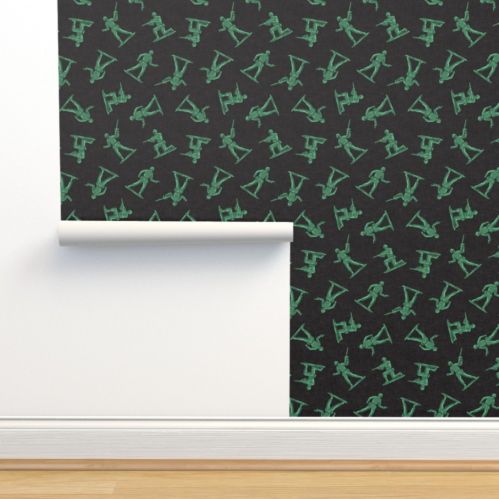 Isobar Durable Wallpaper featuring (small scale) army men - green plastic army men - toy - dark grey - LAD19BS by littlearrowdesign