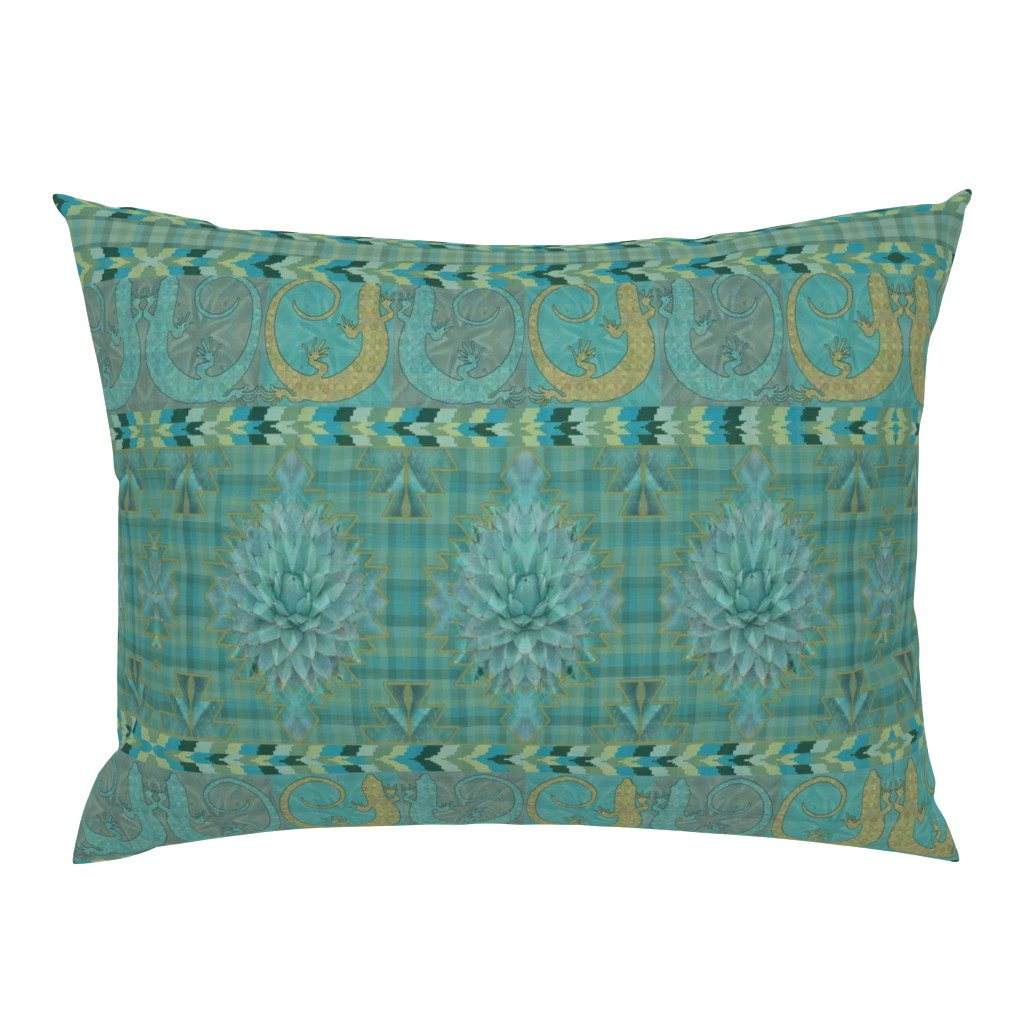 Campine Pillow Sham featuring Geckos in a row by snarets