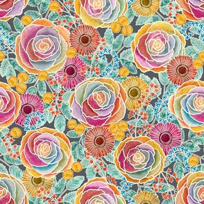 Watercolour Rainbow Roses