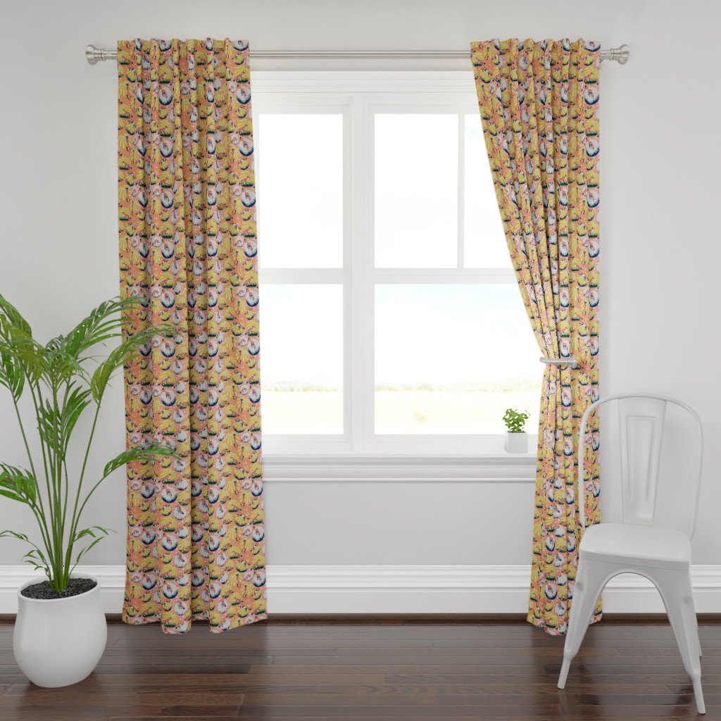 Plymouth Curtain Panel featuring Jumping Foxes by dilatorysloth