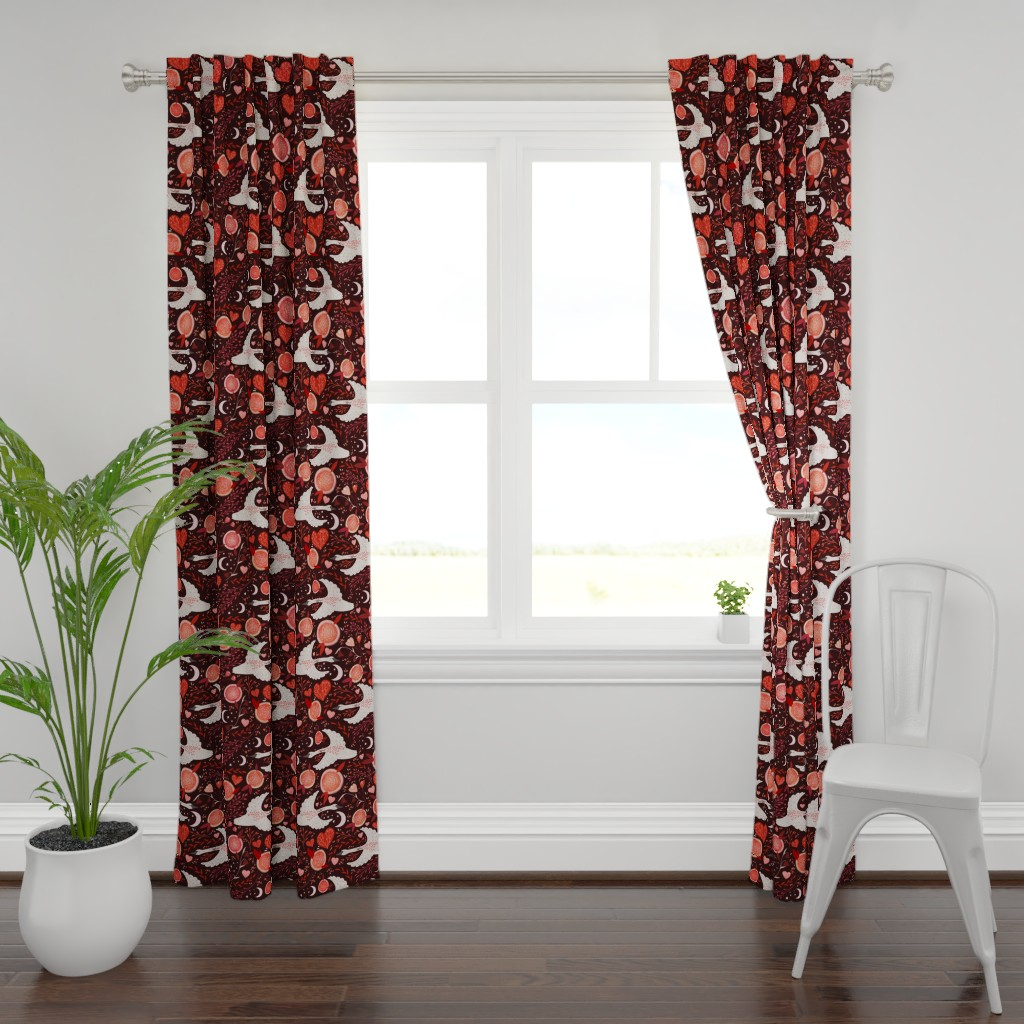 Plymouth Curtain Panel featuring swans by meadowswild