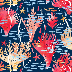 Coral reef watercolour