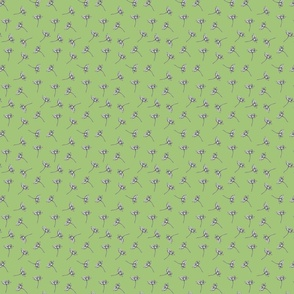 Orange Star Flower Blossoms 'Ditsy' Print on Green