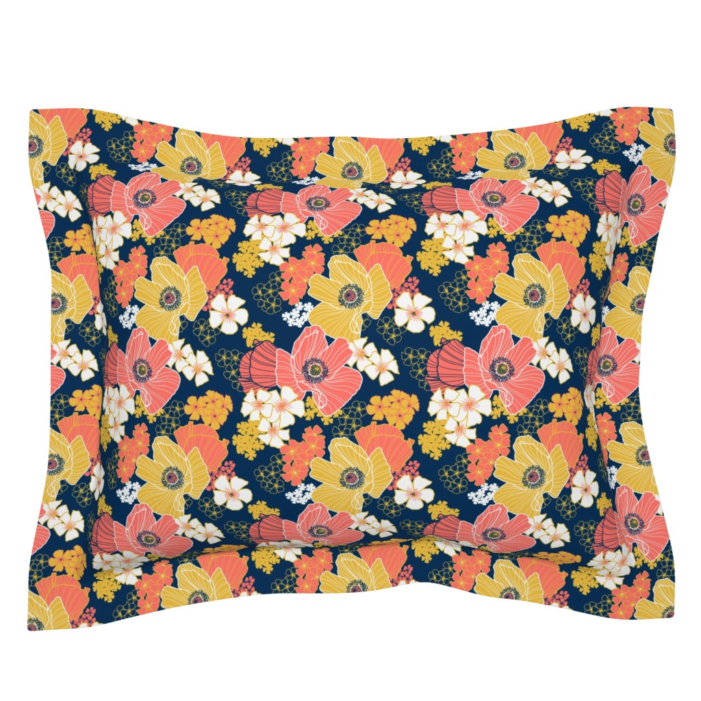 Sebright Pillow Sham featuring Wild Poppies limited palette by nadyabasos