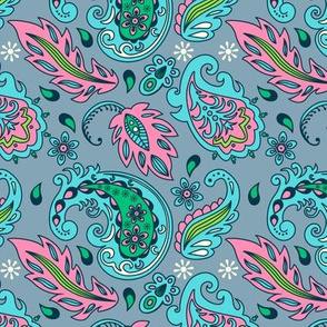 Blue Pink and Gray Frilly Paisley Pattern