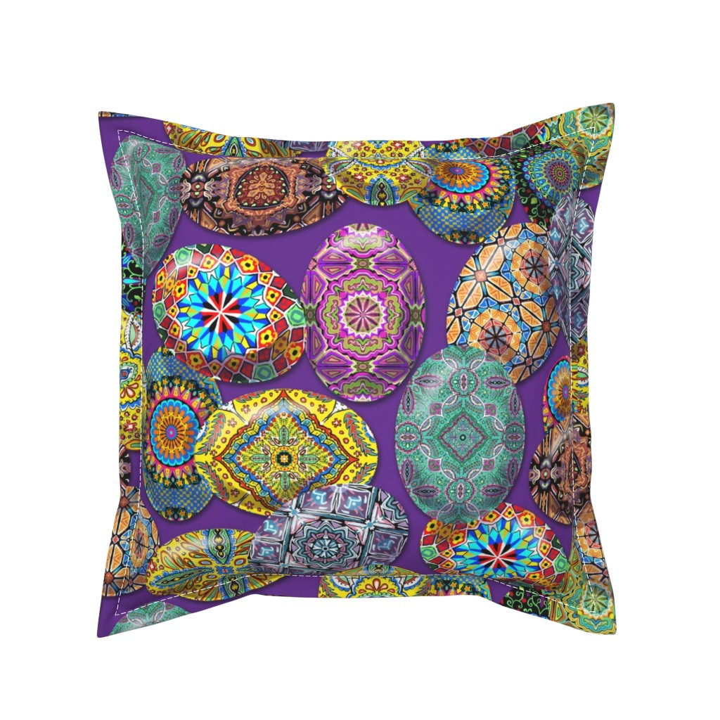 Serama Throw Pillow featuring Pysanky Eggs 2 by vinpauld