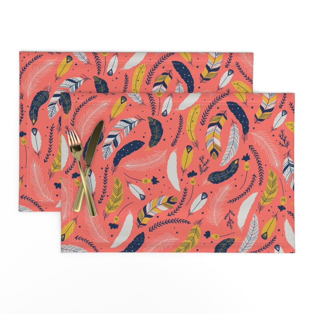 Lamona Cloth Placemats featuring Flying Feathers by yuanxudesign