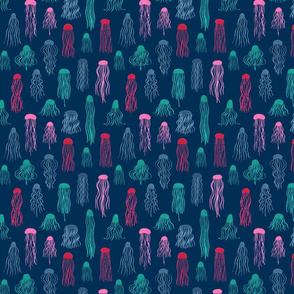 Jellyfishes multi colour on navy