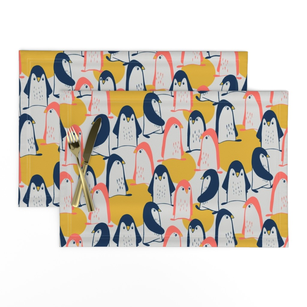 Lamona Cloth Placemats featuring Convention of penguins by alined