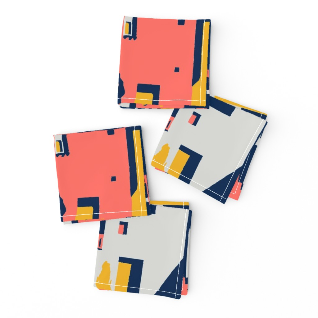 Frizzle Cocktail Napkins featuring cliff dwellings coral by whatever-works