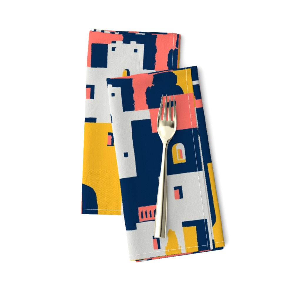 Amarela Dinner Napkins featuring cliff dwellings coral by whatever-works