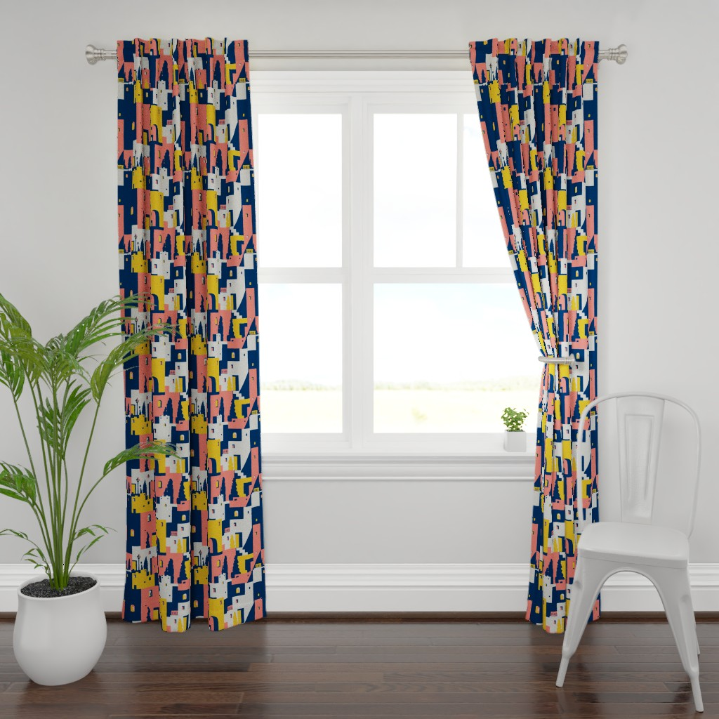 Plymouth Curtain Panel featuring cliff dwellings coral by whatever-works