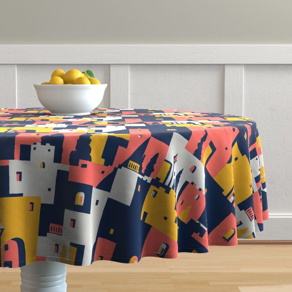 Malay Round Tablecloth featuring cliff dwellings coral by whatever-works