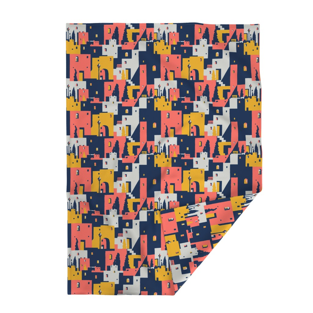 Lakenvelder Throw Blanket featuring cliff dwellings coral by whatever-works