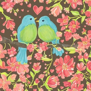 Love Birds and blossoms brown