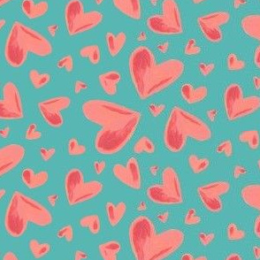 Watercolor Hearts Teal