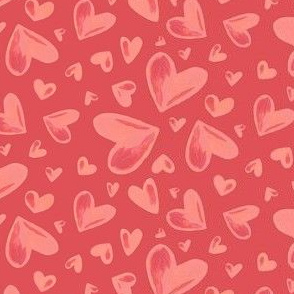Watercolor Hearts red