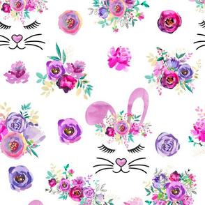 Pink Watercolor Bunny Fabric