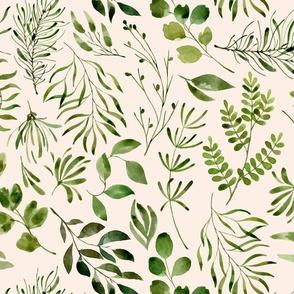 Botanical print green leaves foliage on cream background