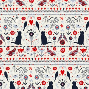 Cat Bird Folk -classic navy, blue, red and ivory