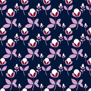 Navy & Orchid Naive Print