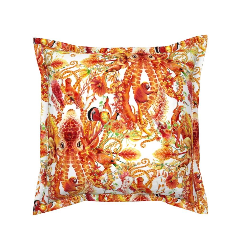 Serama Throw Pillow featuring Tangerine Octopus Floral by naliniasha