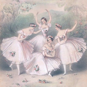 ballet ballerina dancing dancers beautiful women ladies lady smiling flowers floral crown garland roses mountains gardens troupe pastel stage trees bushes pointe Pas de quatre four quartet 4 company group performers seamless watercolor romantic shabby chi