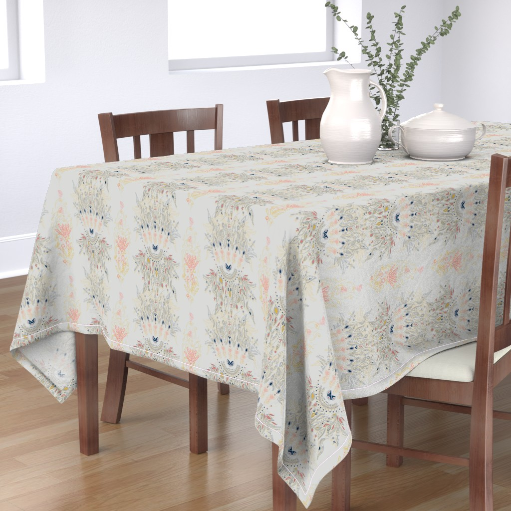 Bantam Rectangular Tablecloth featuring Living Coral Dream Catcher by paisleylady